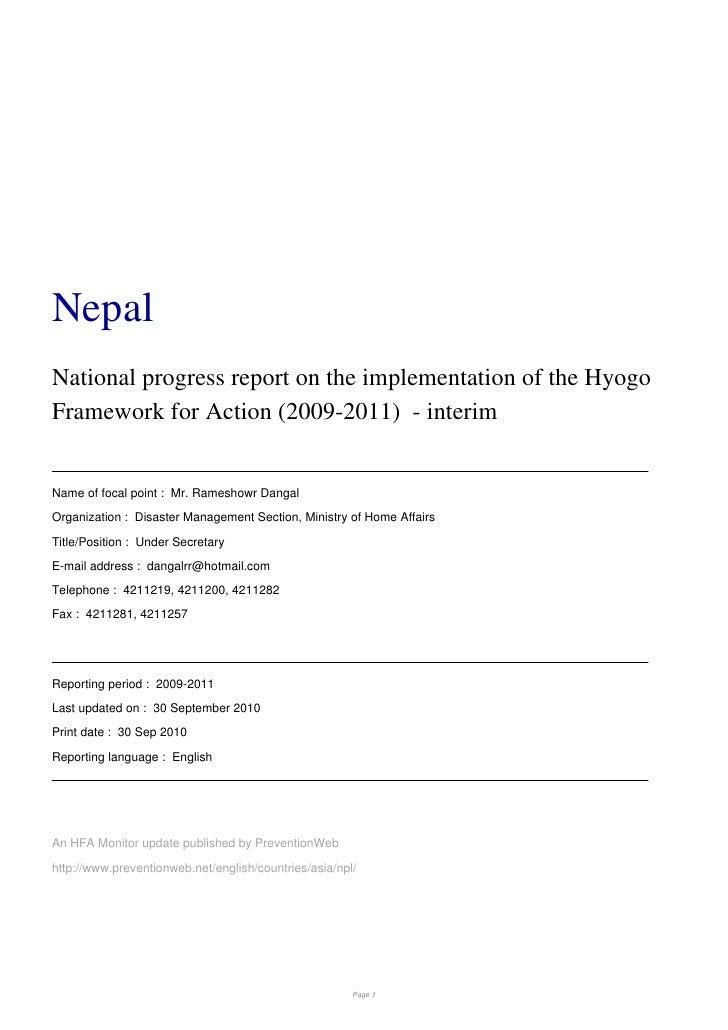 NepalNational progress report on the implementation of the HyogoFramework for Action (2009-2011) - interimName of focal po...