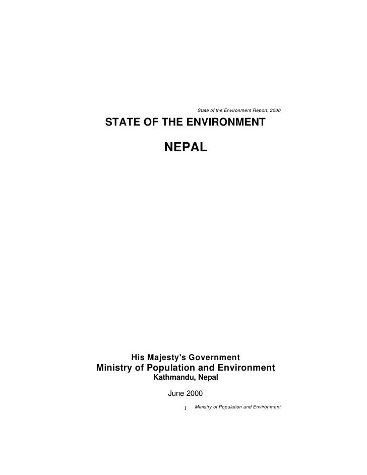 State of the Environment Report, 2000   STATE OF THE ENVIRONMENT                NEPAL            His Majesty's Government ...