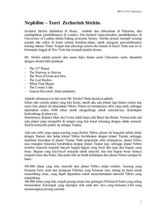 BETA-UFO Indonesia 1 Nephilim – Teori Zechariah Sitchin. Zecharia Sitchin dilahirkan di Rusia, tumbuh dan dibesarkan di Pa...