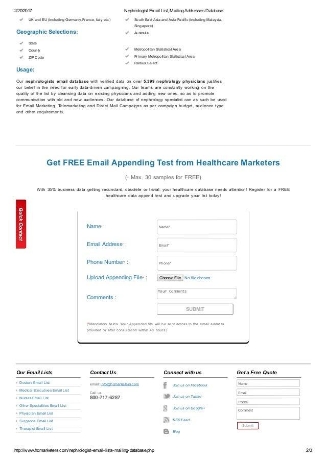 Nephrologist email list