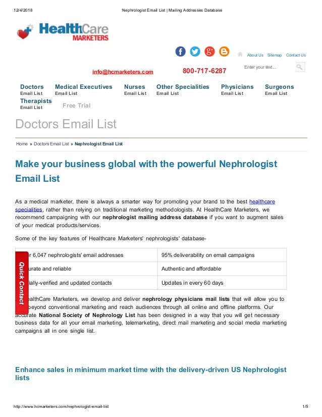 Nephrologist Email List - Healthcare Marketers
