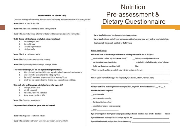 weight loss results in 12 weeks nutrition survey questions