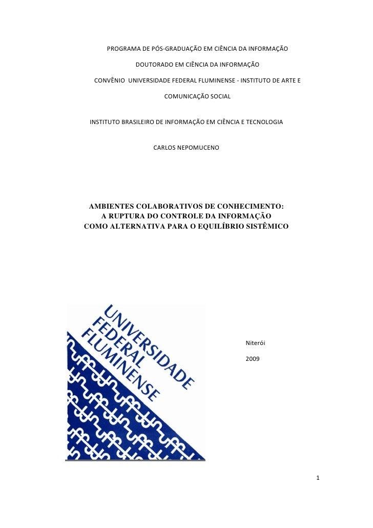 PROGRAMA DE PÓS-GRADUAÇÃO EM CIÊNCIA DA INFORMAÇÃO                DOUTORADO EM CIÊNCIA DA INFORMAÇÃO    CONVÊNIO UNIVERSID...