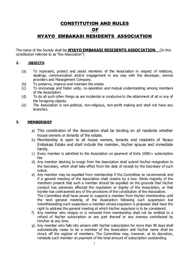 CONSTITUTION AND RULES OF NYAYO EMBAKASI RESIDENTS ASSOCIATION         The name of the Society shall be NYAYO E...