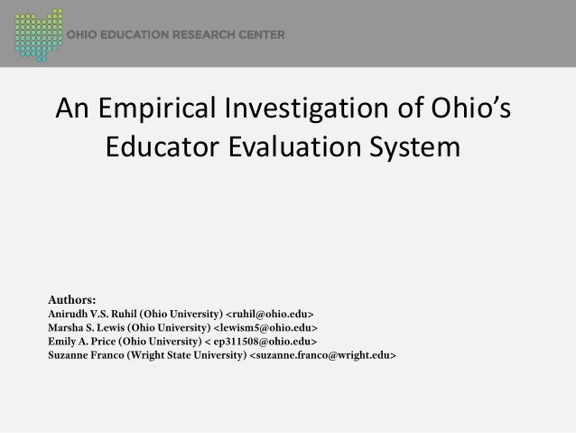 An Empirical Investigation of Ohio's Educator Evaluation System