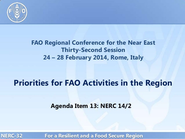 FAO Regional Conference for the Near East Thirty-Second Session 24 – 28 February 2014, Rome, Italy  Priorities for FAO Act...