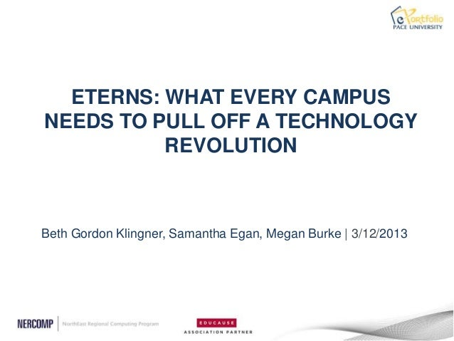 ETERNS: WHAT EVERY CAMPUSNEEDS TO PULL OFF A TECHNOLOGY          REVOLUTIONBeth Gordon Klingner, Samantha Egan, Megan Burk...