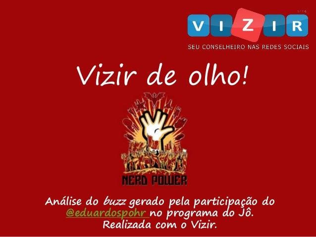 Vizir de olho! Análise do buzz gerado pela participação do @eduardospohr no programa do Jô. Realizada com o Vizir.