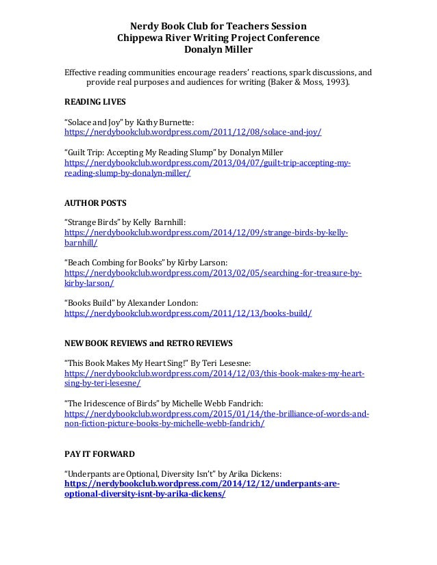 Handout Nerdy Book Club For Teachers Session