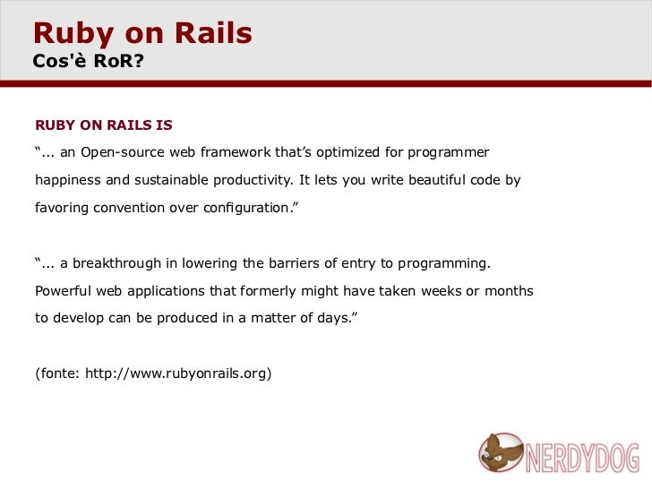 Sviluppo applicazioni in Ruby on Rails Slide 3