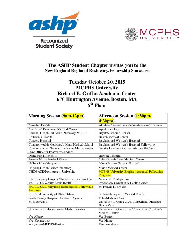 See MCPHS at the New England Regional Fellowship/Residency