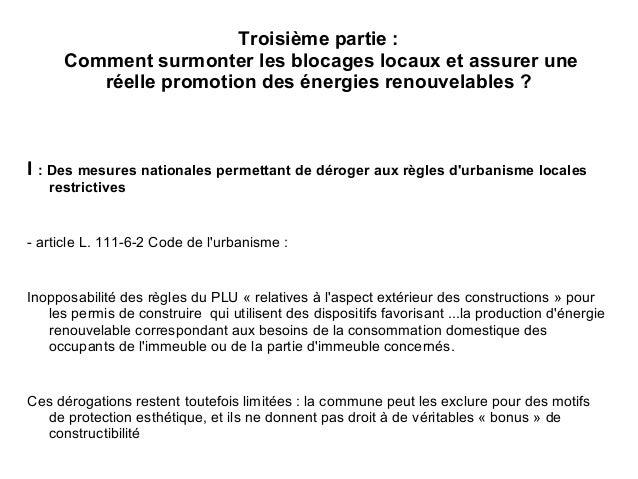 Energies renouvelables et documents d 39 urbanisme for Regle de l urbanisme