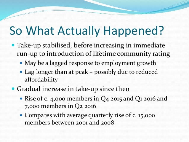 So What Actually Happened?  Take-up stabilised, before increasing in immediate run-up to introduction of lifetime communi...