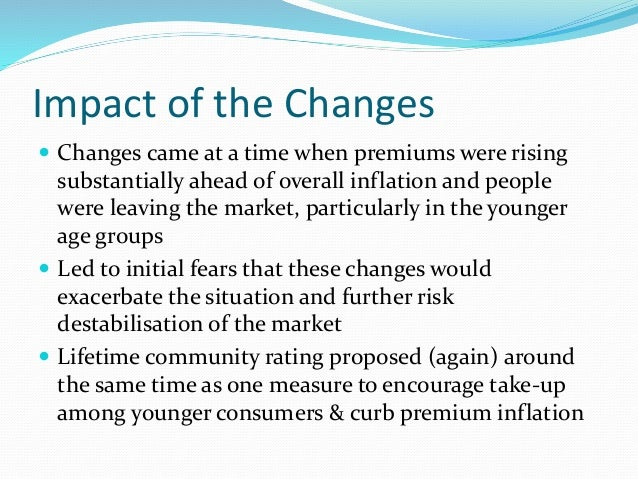 Impact of the Changes  Changes came at a time when premiums were rising substantially ahead of overall inflation and peop...