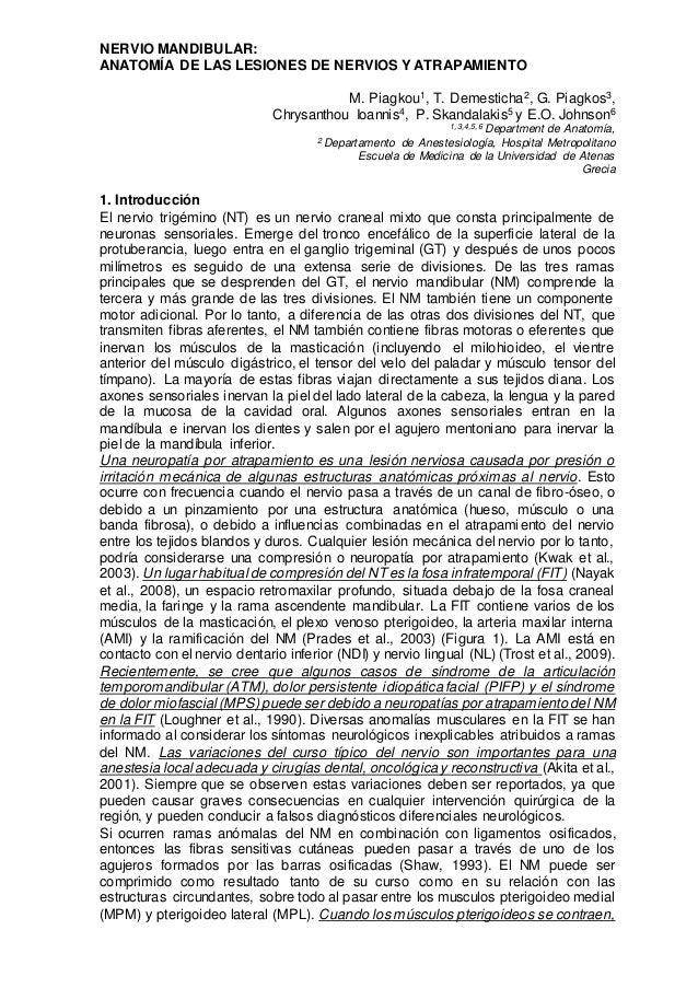 NERVIO MANDIBULAR: ANATOMÍA DE LAS LESIONES DE NERVIOS Y ATRAPAMIENTO