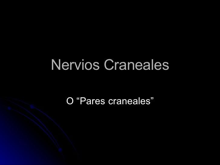 """Nervios Craneales O """"Pares craneales"""""""
