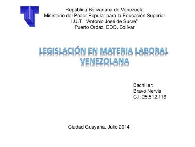 """República Bolivariana de Venezuela Ministerio del Poder Popular para la Educación Superior I.U.T. """"Antonio José de Sucre"""" ..."""