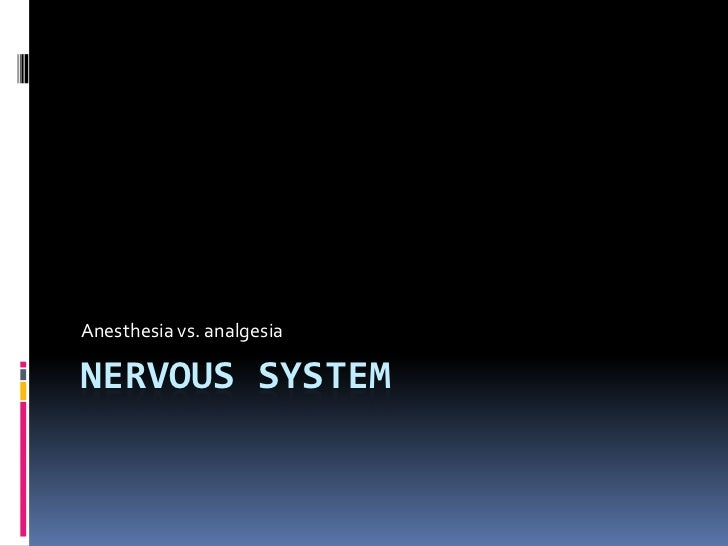 Nervous system<br />Anesthesia vs. analgesia<br />