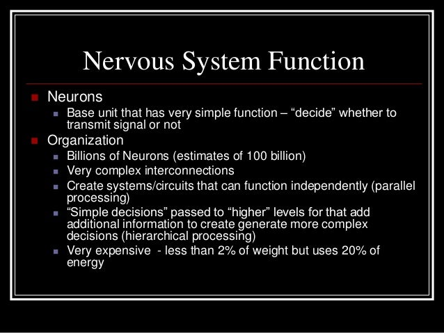 "Nervous System Function Neurons Base unit that has very simple function – ""decide"" whether totransmit signal or not Org..."