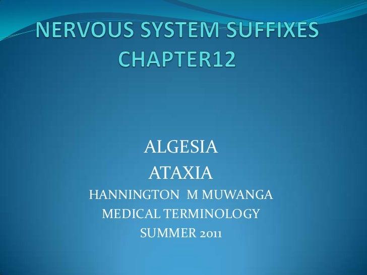 NERVOUS SYSTEM SUFFIXESCHAPTER12<br />ALGESIA<br />ATAXIA<br />HANNINGTON  M MUWANGA<br />MEDICAL TERMINOLOGY<br />SUMMER ...