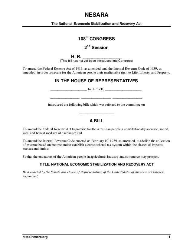 NESARA The National Economic Stabilization and Recovery Act http://nesara.org 1 108th CONGRESS 2nd Session H. R. _________...