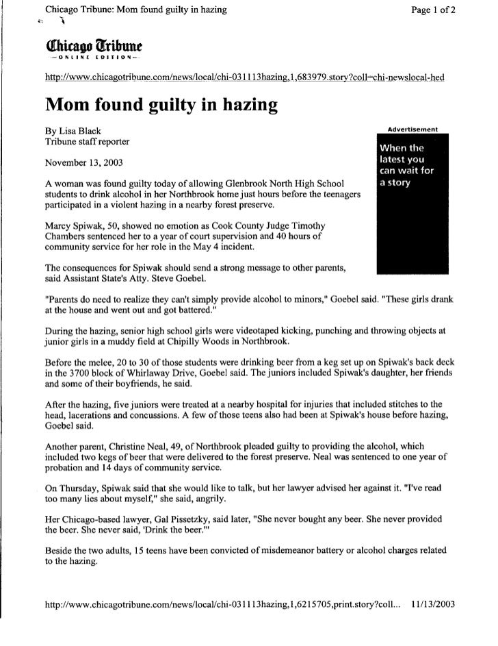 In the News - Mom found Guilty in Hazing