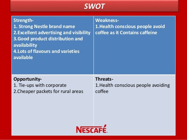 swot for nescafe coffee Keywords: bcg matrix, csv, nestlé, swot analysis 1 introduction nestlé is   foods, bottled water, chocolate, coffee, dairy to healthcare and.