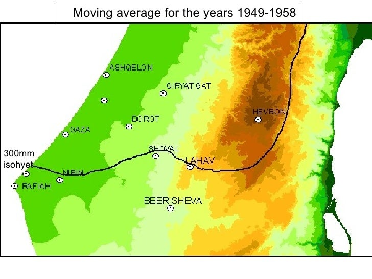 Moving average for the years 1949-1958 300mm isohyet