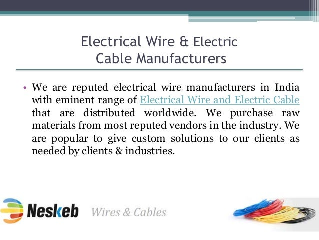 Electrical Cable Manufacturers Mail: Neskeb Electrical Wire & Electric Cables Manufacturers
