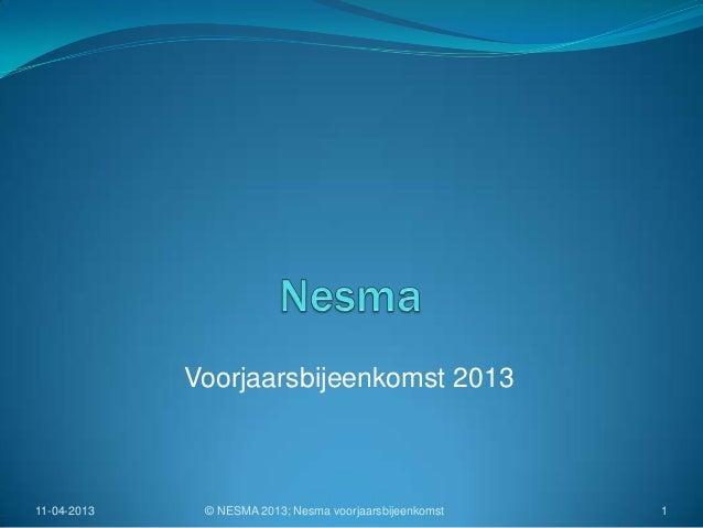 Voorjaarsbijeenkomst 201311-04-2013    © NESMA 2013; Nesma voorjaarsbijeenkomst   1
