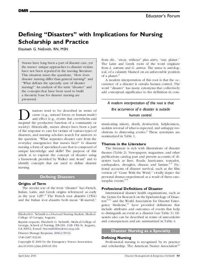 Educator's ForumDefining ''Disasters'' with Implications for NursingScholarship and PracticeElizabeth G. NeSmith, RN, MSNNu...