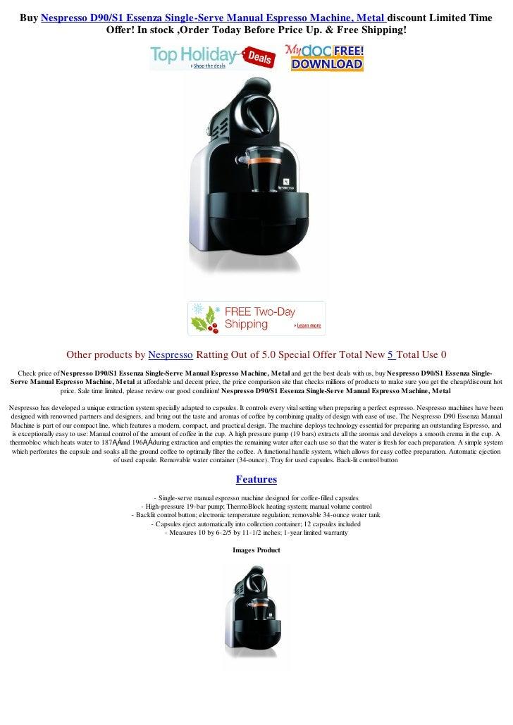 Nespresso D90 Essenza Single-Serve Manual Espresso Machine Coffee ...