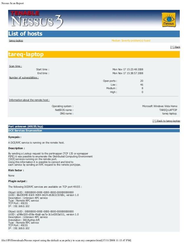 nessus scan report filefdownloadsnessus report using