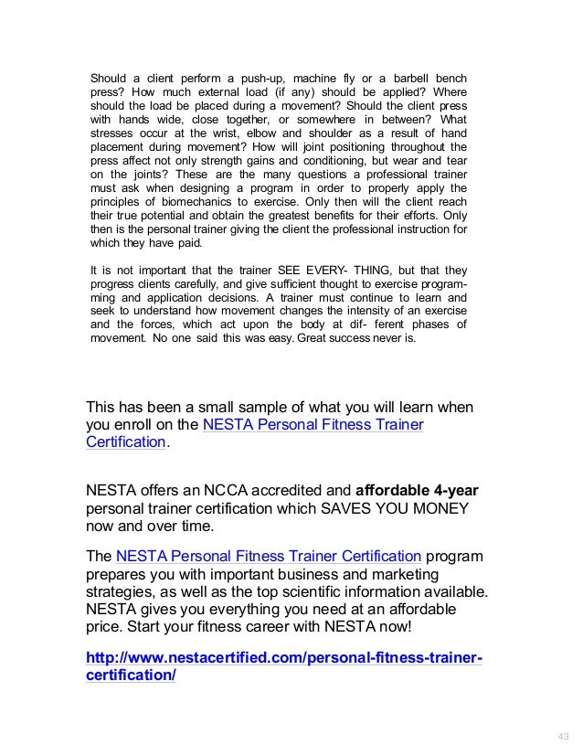 Nesta Personal Trainers Certification Biomechanics