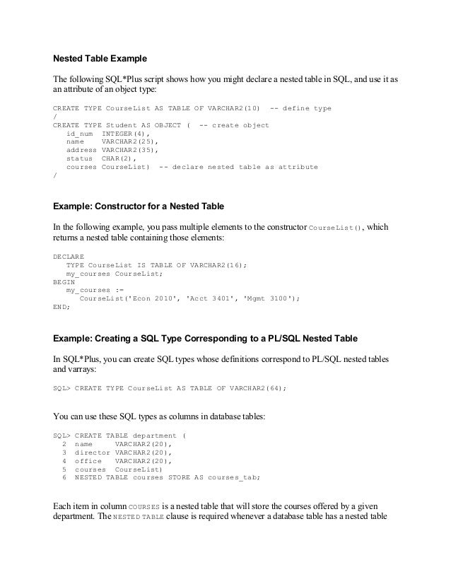 Nested Table ExampleThe following SQL*Plus script shows how you might declare a nested table in SQL, and use it asan attri...