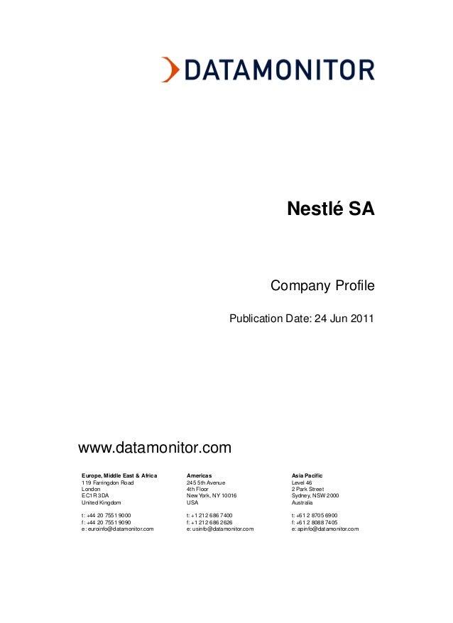 Nestlé SA                                                           Company Profile                                       ...