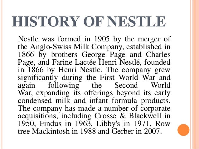a company history and overview of the nestle bottling company Nestle waters na has acquired 3 companies nestle waters na's latest acquisition was sweet leaf tea in may 2011 sweet leaf tea company is a producer of ready-to-drink organic teas and lemonades.