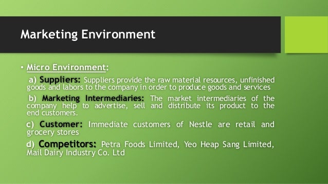 macro environment of nestle Nestle brands are household names in 12 pestle is one of a popular used series of acronyms in business and marketing planning which shows how to review the macro.