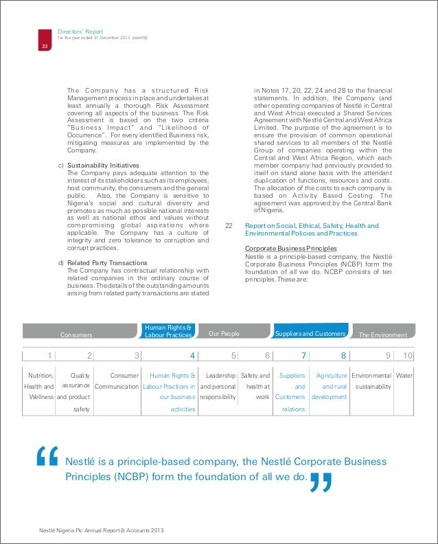 nestle annual report Nestlé has published its 2012 annual report (pdf, 6 mb) outlining the company's performance last year and its future ambitions the full annual report pack also contains the company's 2012.