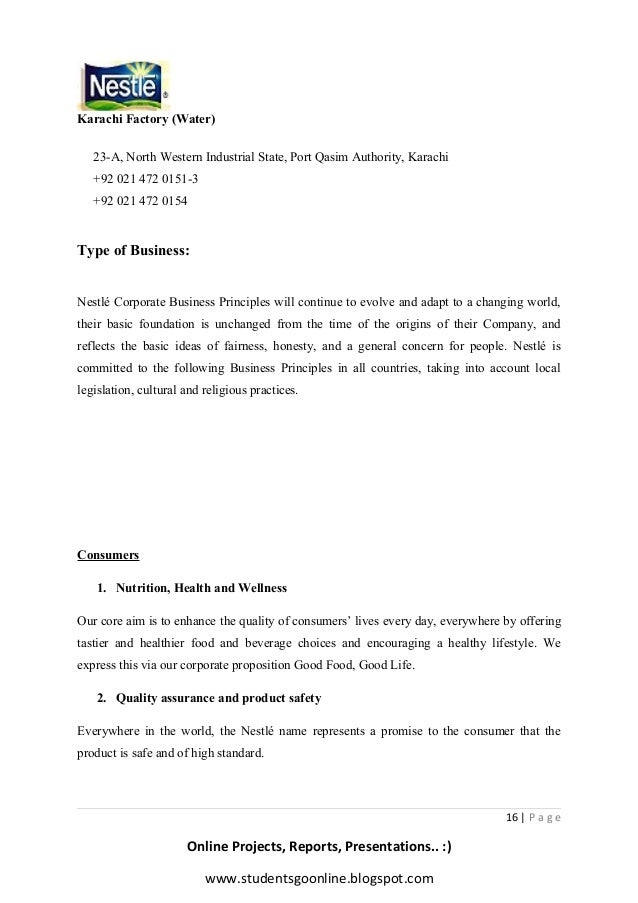 Letter Format For Business Tie Up. www studentsgoonline blogspot com  16 Nestle final project