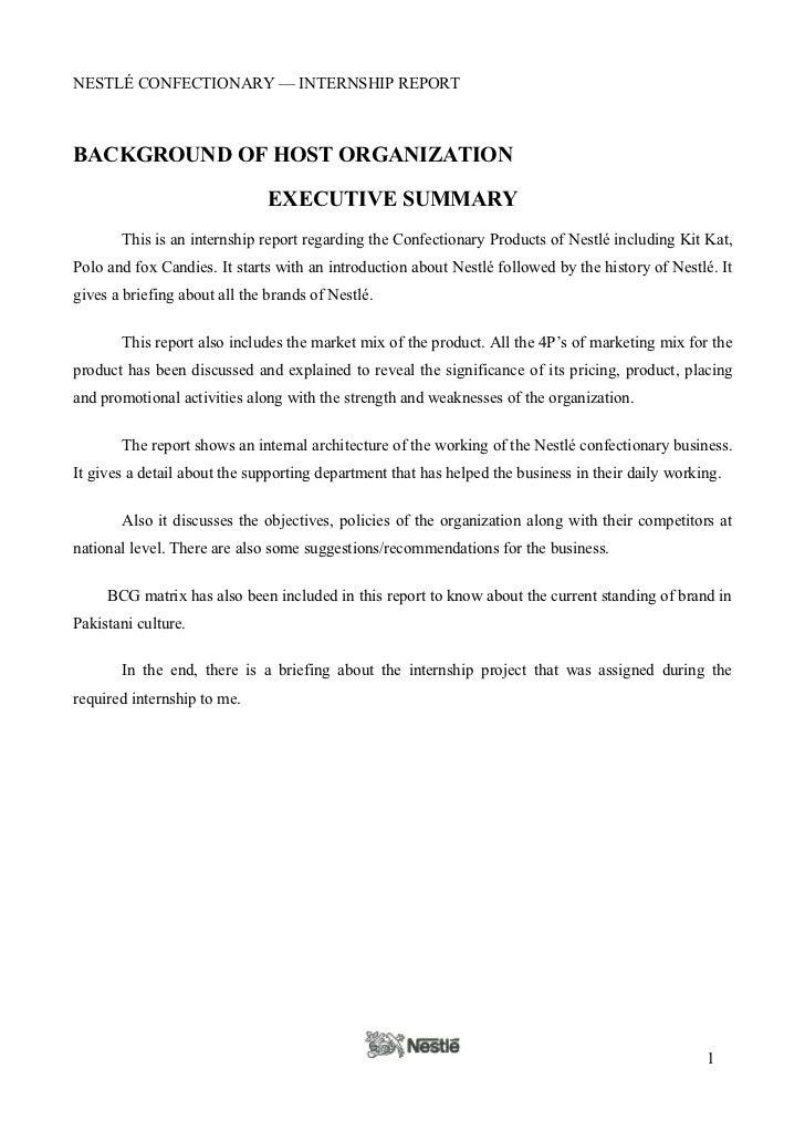 Summary for internship report
