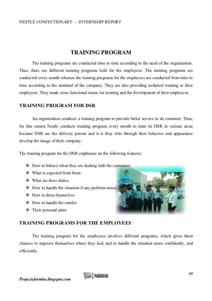 Internship report on training and development