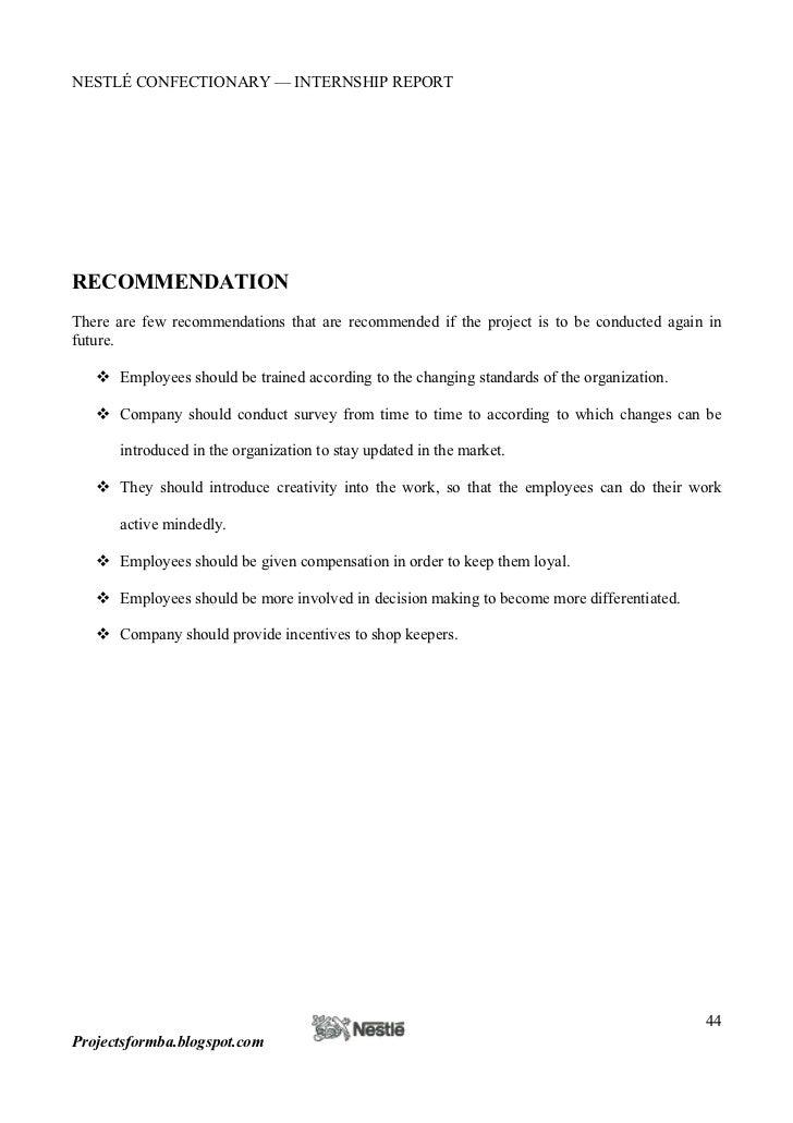 Suggestion for internship report