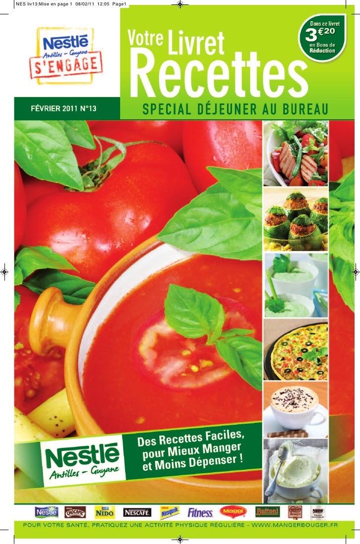 Nestle livret recettes n 13 special dejeuner au bureau - Livraison dejeuner au bureau ...