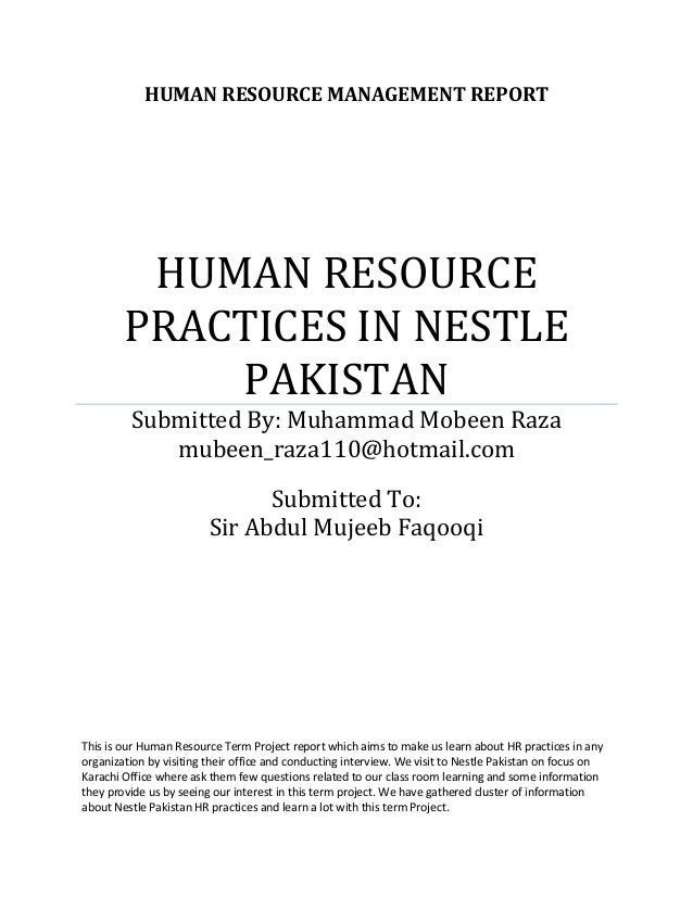 report on role of hrm in nestle company