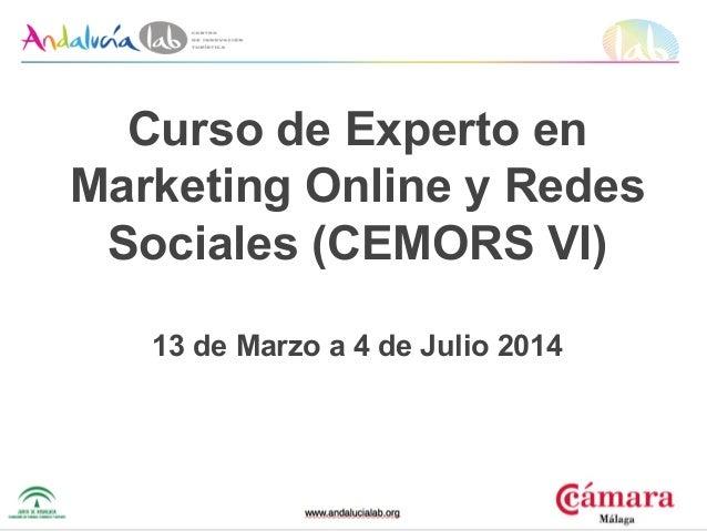 Curso de Experto en Marketing Online y Redes Sociales (CEMORS VI) 13 de Marzo a 4 de Julio 2014