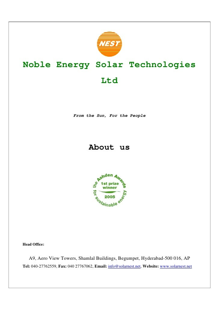 Noble Energy Solar Technologies                                           Ltd                              From the Sun, F...