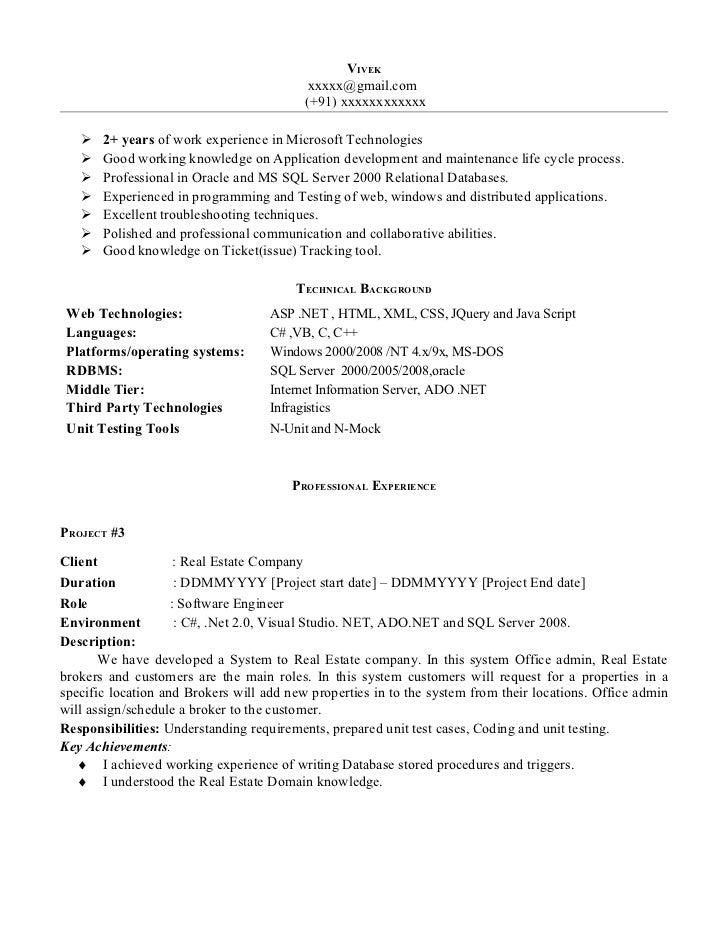 Net experience resume sample for Sample resume for software engineer with 2 years experience
