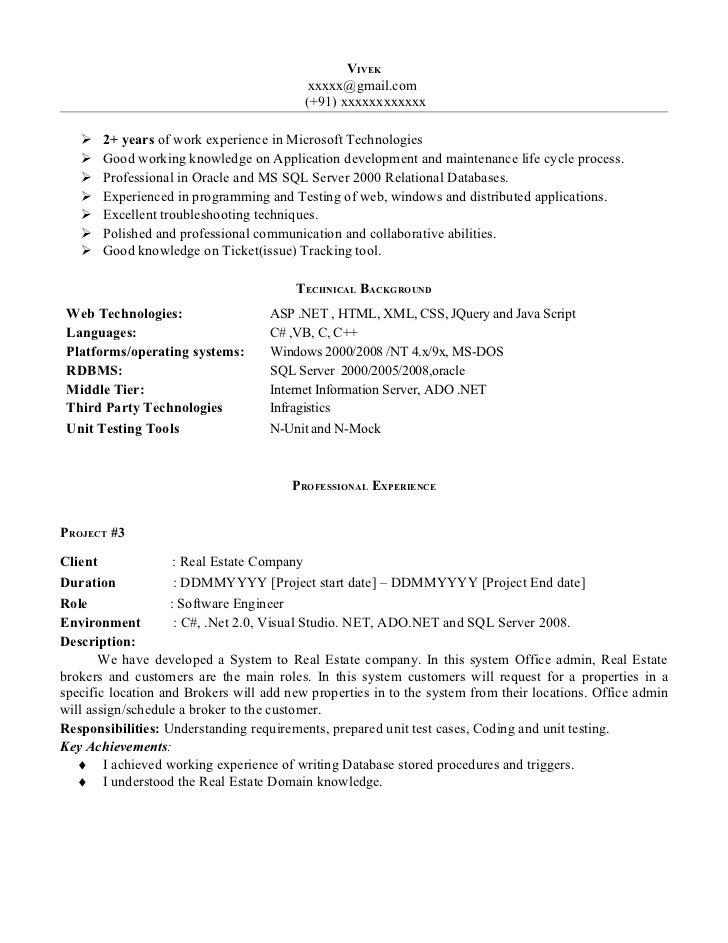 Superb VIVEK ... With Net Developer Resume