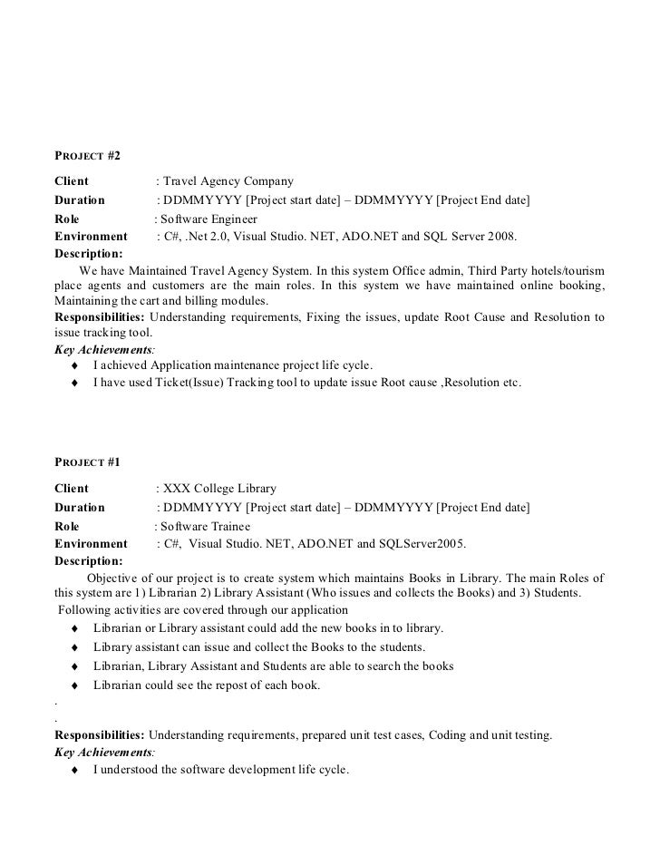 Resume Samples For Experienced Professionals In